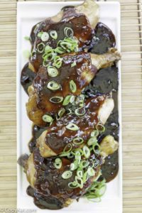 chicken shoyu on a platter
