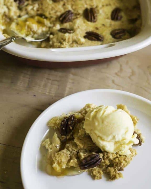 dump cake made with peach pie filling