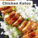 a plate of chicken katsu and rice