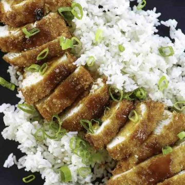 Homemade Japanese chicken katsu topped with tonkatsu sauce