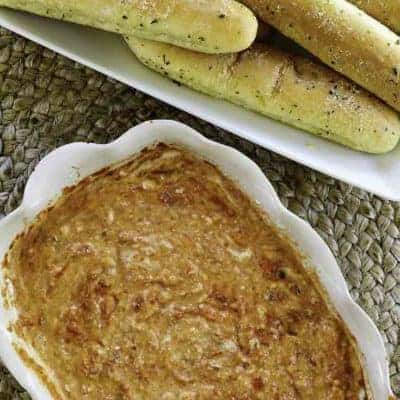 homemade Olive Garden Sam Remo Seafood Dip and breadsticks