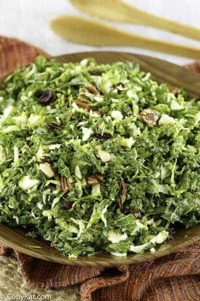 kale and brussels sprout salad with pecans and more