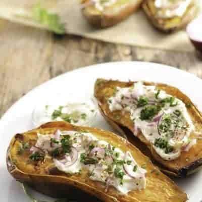 Sweet potatoes topped with sour cream