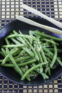 fresh green beans made with garlic