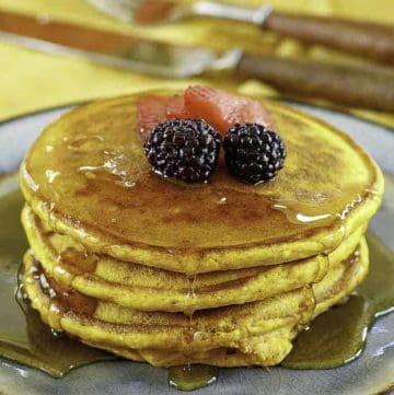 ihop pumpkin spice pancakes on a plate.