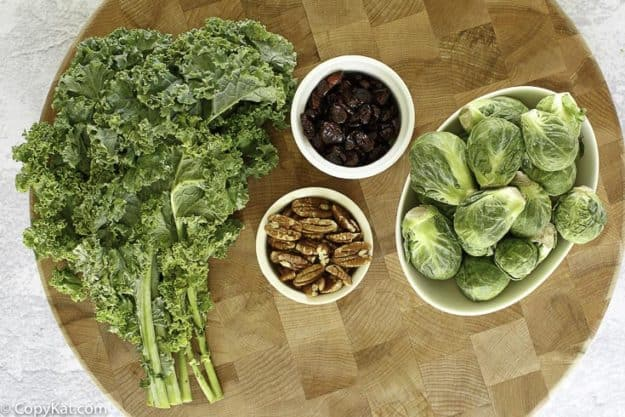 kale, brussels sprouts, craisins, and pecans