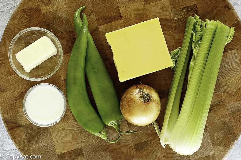 Ingredients for Monterey's Little Mexico Queso, American cheese, celery, chilies, and more