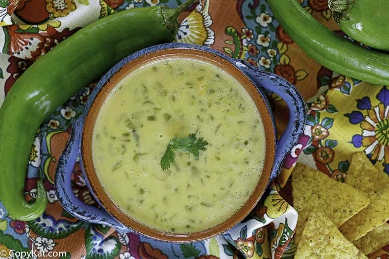 cheese queso made with chilies, onions and more