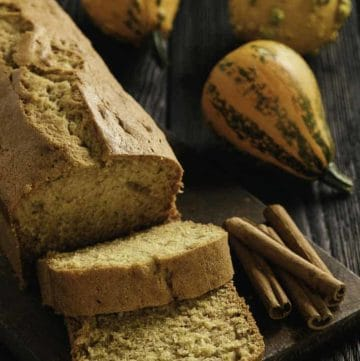 a loaf of homemade pumpkin bread