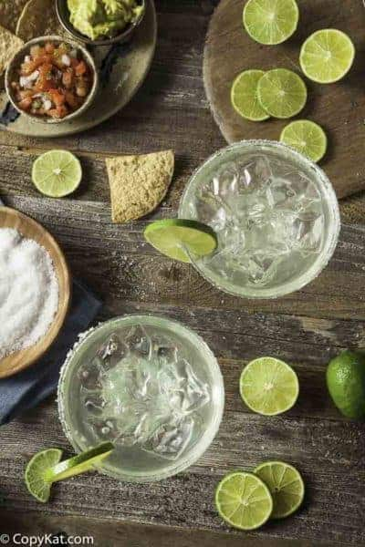 two homemade margaritas