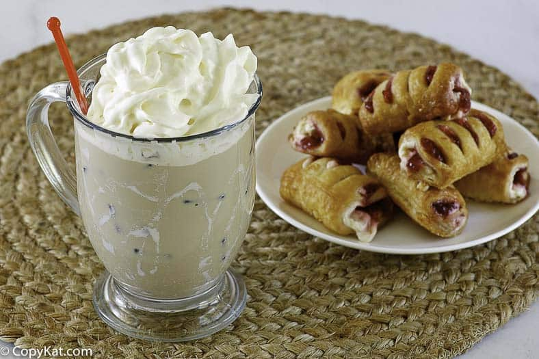 iced white chocolate mocha and pastries