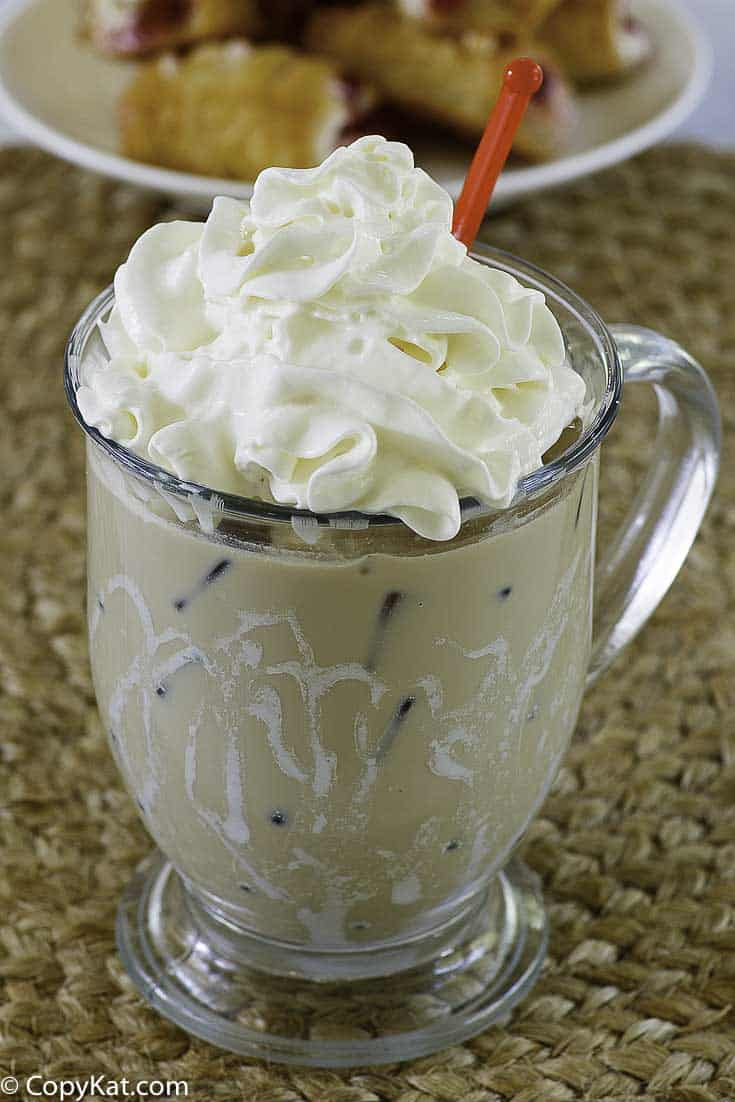 copycat starbucks iced white chocolate mocha in a glass mug