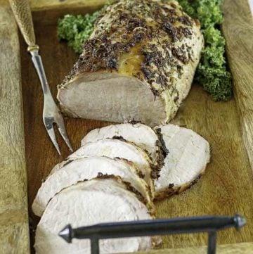 roasted pork loin on a platter