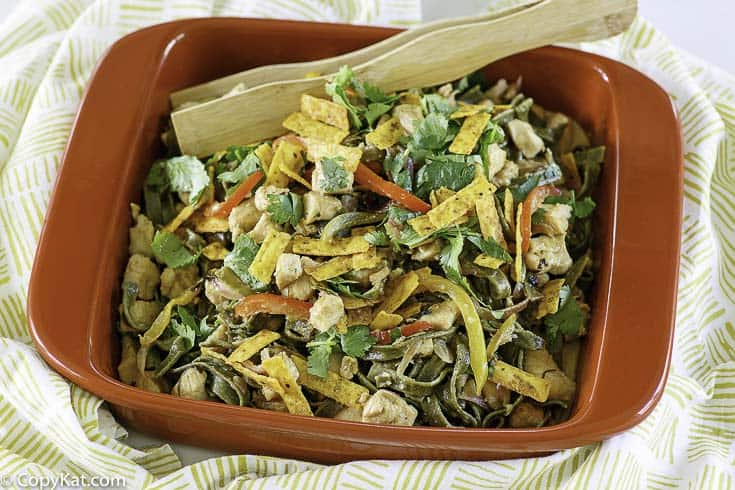 chicken tequila fettuccine in a serving dish