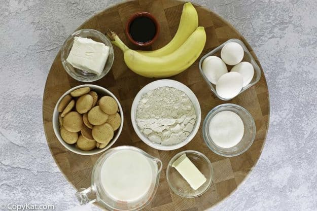ingredients needed for banana pudding: bananas, milk, and more