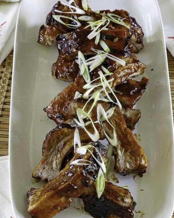 chinese spare ribs - cooked pork ribs