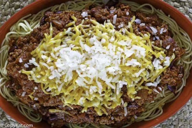 copycat Steak and Shake Five Way Chili in a bowl