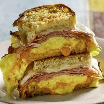homemade Denny's Moons Over My Hammy Breakfast Sandwich