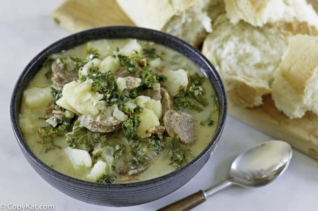a bowl of homemade olive garden zuppa toscana soup
