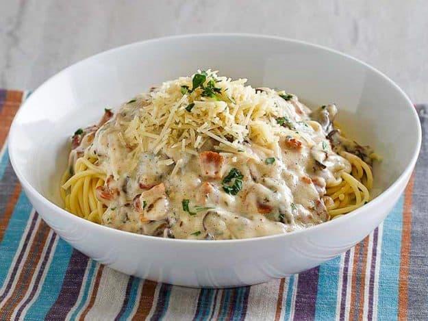 a bowl of copycat Olive Garden spaghetti carbonara