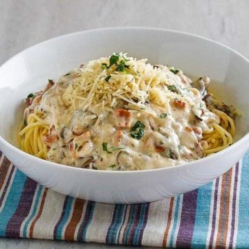 a bowl of homemade Olive Garden spaghetti carbonara