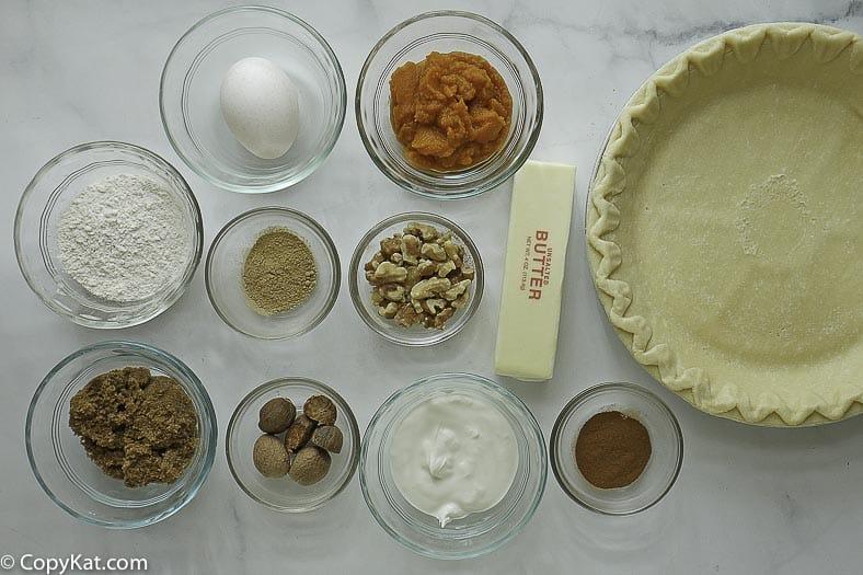 pie shell, pumpkin, eggs, pumpkin spice, brown sugar and more