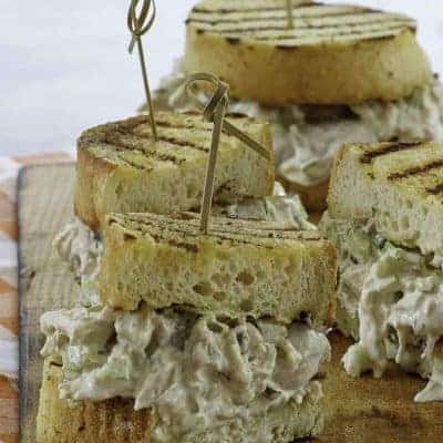 two old fashioned chicken salad sandwiches