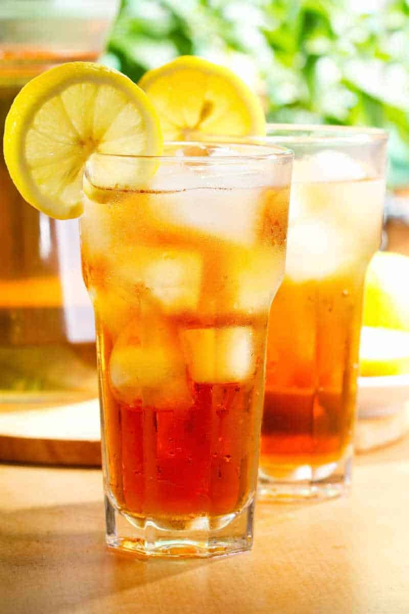 two glasses of sweet iced tea