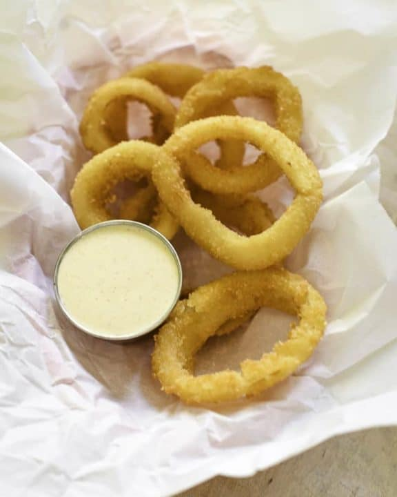 Onion Rings with zesty Onion Ring Sauce