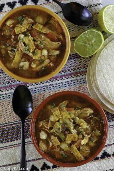 two bowls of southwest chicken soup