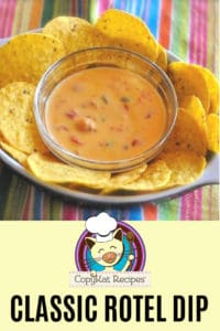 classic rotel cheese dip with tortilla chips