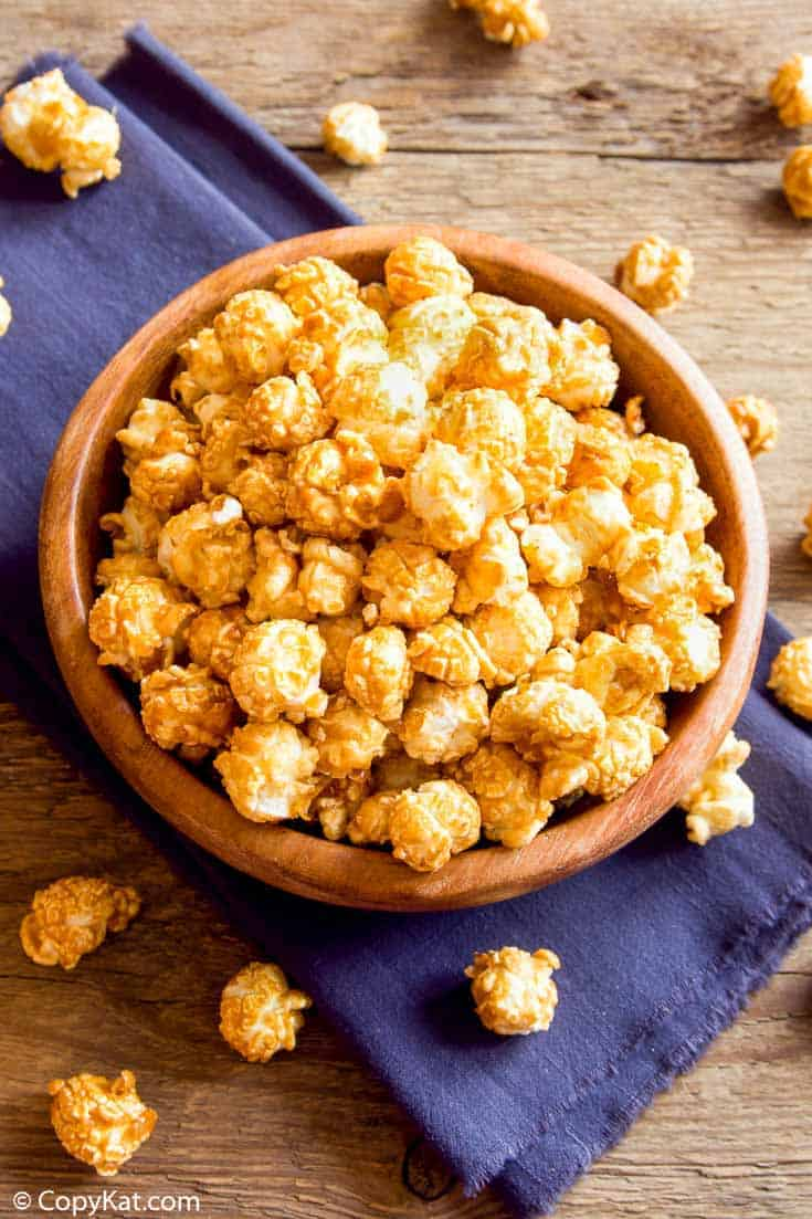 a bowl of homemade crunch and munch caramel popcorn