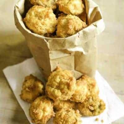 deep fried fresh mushrooms in a paper bag