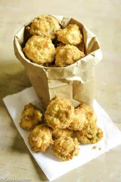 deep fried fresh mushrooms in a paper bag