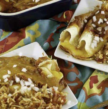 Tex Mex Cheese Enchiladas on a plate