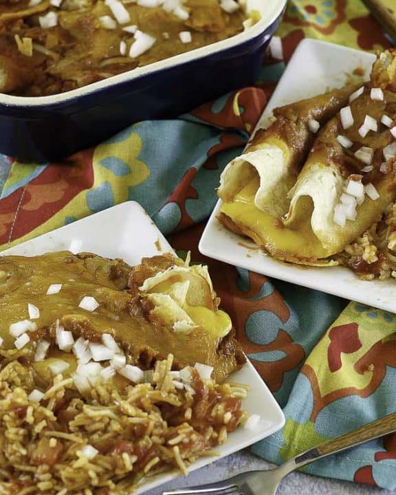 Tex Mex Cheese Enchiladas on a plate