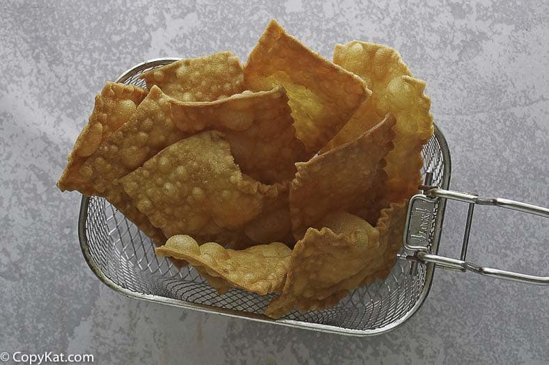 homemade deep fried pasta chips