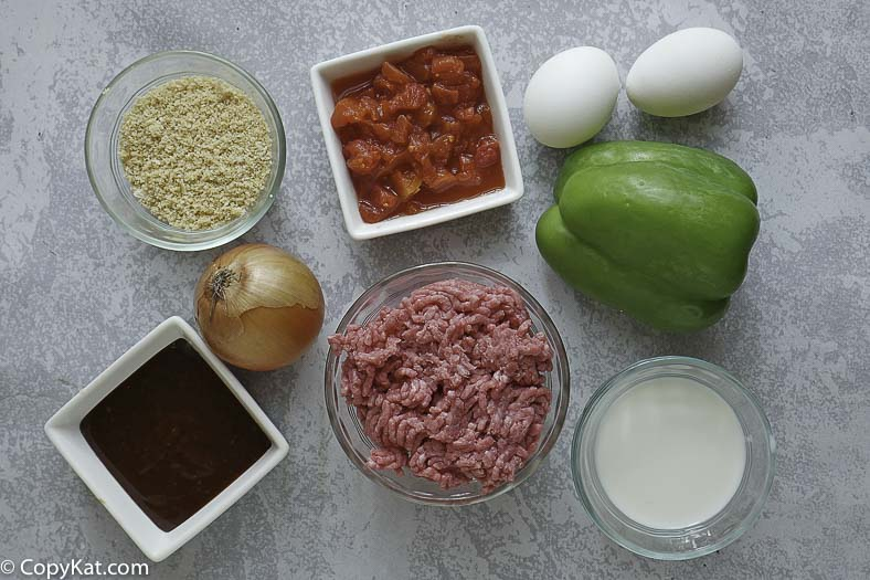 ground beef, onions, green bell pepper and more to make meatloaf