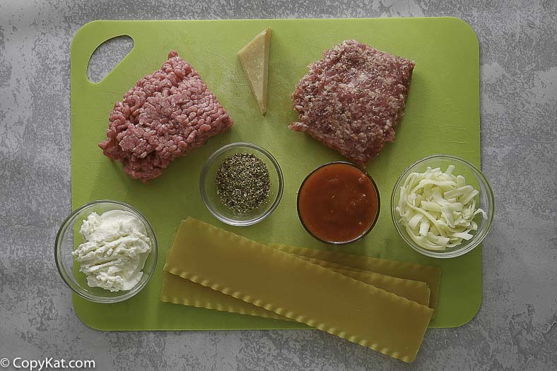 ground beef, sausage, pasta chips and more to make dip