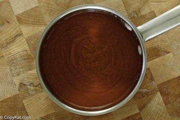 A pot of enchilada sauce