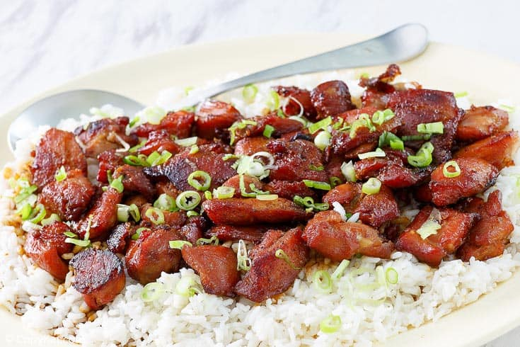 a plate of bourbon chicken on rice