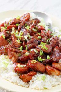 Homemade Cajun Cafe Bourbon Chicken on rice