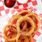 a basket of homemade Dairy Queen onion rings