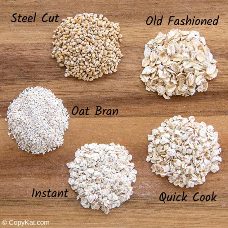 five different types of oatmeal