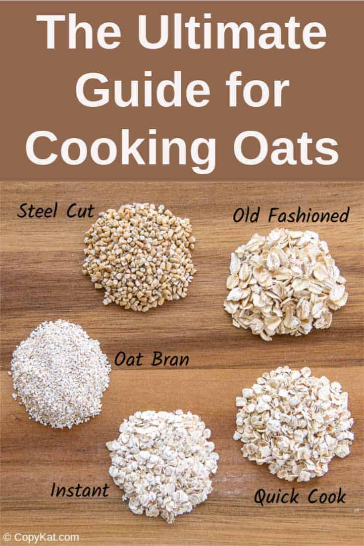 five different types of oatmeal: instant, quick cooking, rolled oats, oat bran