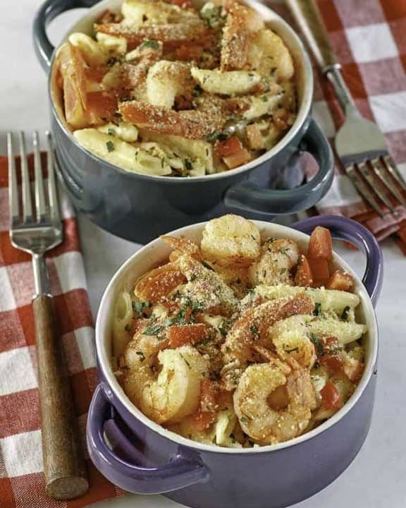 bowls of baked shrimp pasta