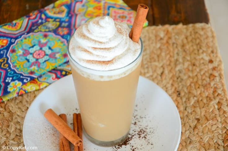 horchata frappuccino topped with whipped cream and cinnamon