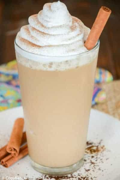 homemade Starbucks horchata frappuccino in a glass