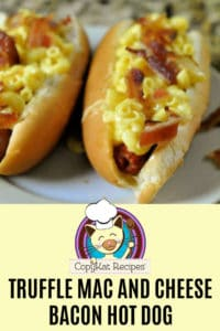 hot dogs topped with truffle macaroni and cheese and bacon