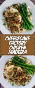 Collage of homemade Cheesecake Factory Chicken Maderia photos